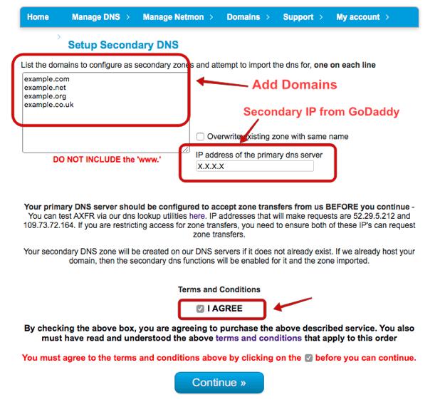 Adding Secondary DNS domains at CloudFloorDNS